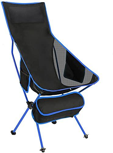 HDZW Silla para Acampar al Aire Libre Sillas de Campamento Plegables y Ligeras portátiles con reposacabezas y Bolsillo en Dos Lados con Respaldo Alto para mochileros al Aire Libre Senderismo Picnic
