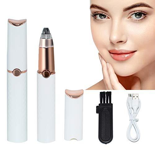 AVJONE Tondeuse à sourcils rechargeable pour sourcils, cheveux, visage, lèvres, nez, épilateur à sourcils, épilateur avec lumière pour homme/femme (Blanc)