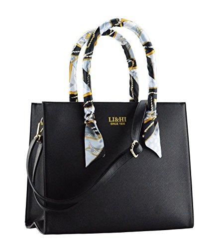 LI&HI Elegant Handtaschen Damen Handtasche Schwarz Schule Shopper Damen Groß Schwarz Marken Handtaschen mit zwei Exquisit Seidenschal (Verbesserte Version) - 36x29x15 CM