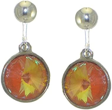 RIVOLI Silver plated Ultra Orange Clip Crystal Max 56% OFF Earrings On Gorgeous
