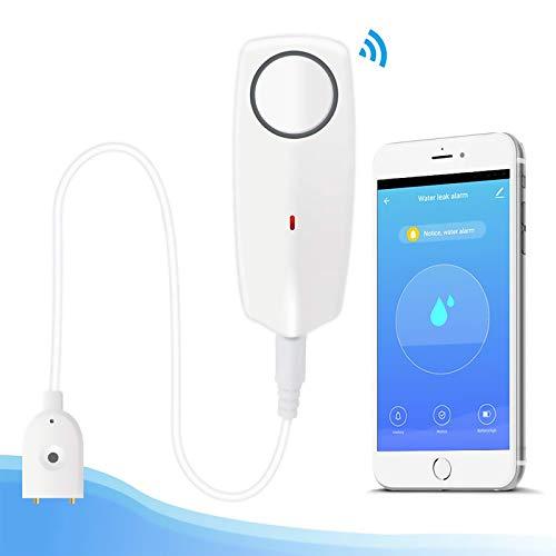 Newgoal Wasseralarmsensor mit 60 dB lautem Sound WiFi-Lecksucher, Überlaufleckalarm, Fernüberwachungsleckage für die Abwasserpumpe im Warmwasserbereiter, TUYA/Smart Life APP-Benachrichtigung