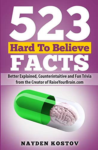 Compare Textbook Prices for 523 Hard To Believe Facts: Better Explained, Counterintuitive and Fun Trivia from the Creator of RaiseYourBrain.com Paramount Trivia and Quizzes  ISBN 9789995998097 by Kostov, Nayden,Leitenberger, Andrea
