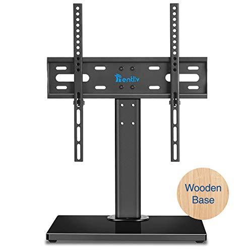 RENTLIV TV Standfuß,TV Standfuss Ständer für 32 bis 55 Zoll Fernseher mit robustem Holzsockel, addiert Höheneinstellung und Kabel Management