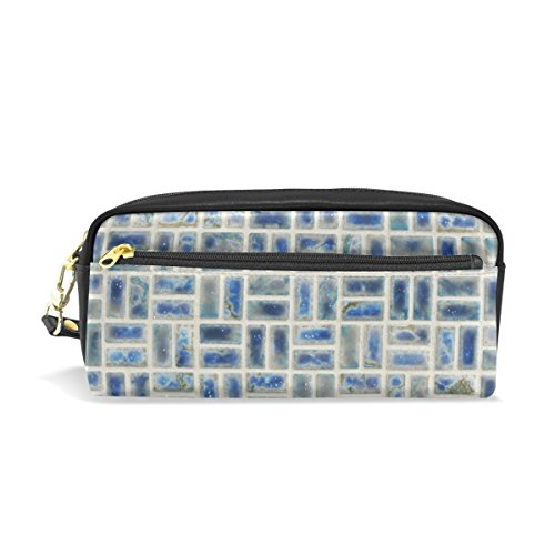 Eslifey Tragbare Tasche Mosaikfliesen Neptun Blau Porzellan Design PU Leder Schule Stifteetui Stifteetui Stifteetui Wasserdicht Kosmetik Tasche Make-up Beauty Case
