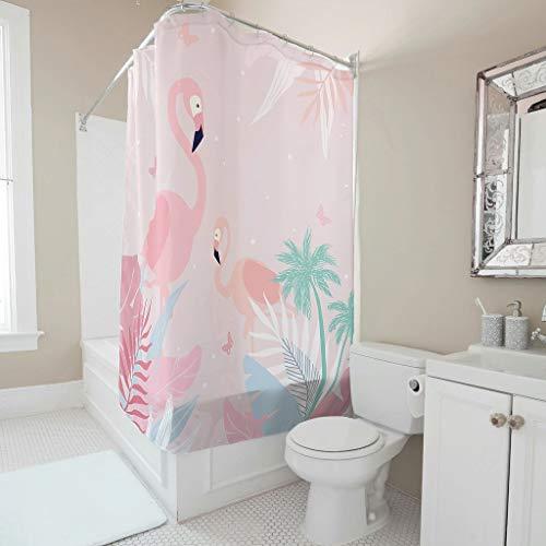 Charzee Tropisches Rosa Flamingo Tier Muster Duschvorhänge Anti-Schimmel Top Qualität Vorhang Badewannenvorhang aus Polyester B x H:200x200cm