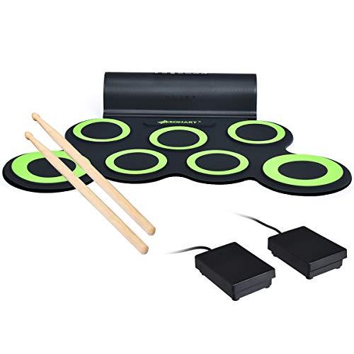COSTWAY 7 Pads E-Drum elektronisches Schlagzeug Set mit 5 Töne 8 Demos, Roll-Up-Trommel inkl. 2 Pedale und Drumsticks für Kinder und Anfänger (Grün)