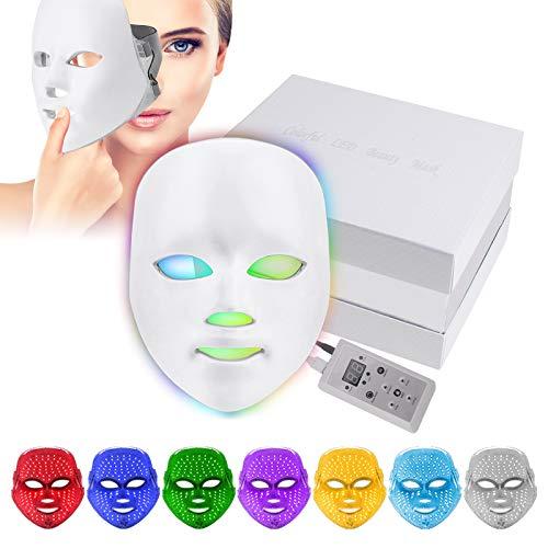 7 Farben LED Gesichtsmaske, Yofuly Photon Light Therapy Hautverjüngungs Gesichtspflege Maske
