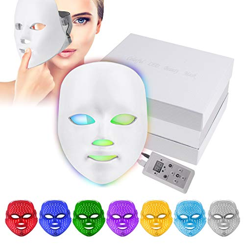 7 Farben LED Gesichtsmaske, Yofuly Photon Light Therapy Hautverjüngungs Gesichtspflege Maske