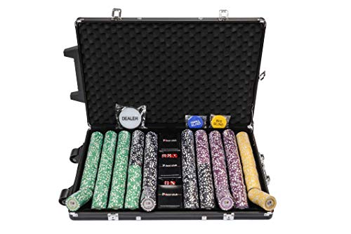 Riverboat Gaming Tournament Set de Poker - fichas de póquer de 1000 Piezas en Maleta (Extras Gratis, valores Altos)