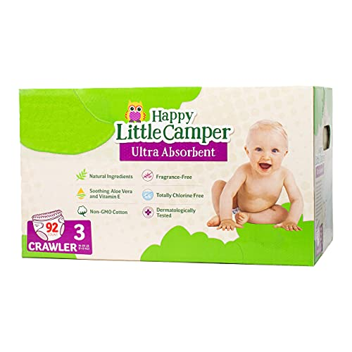 Happy Little Camper Natural Diapers, Size 3 (16-28 lbs) - Disposable Cotton Baby Diapers with Aloe, Ultra-Absorbent, Hypoallergenic and Fragrance Free for Sensitive Skin, 92 Count