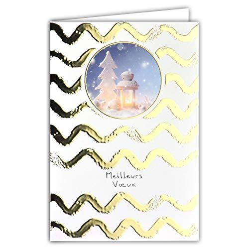 Kaart beste wensen kaars lantaarn dennenboom golven grafisch goud verguld
