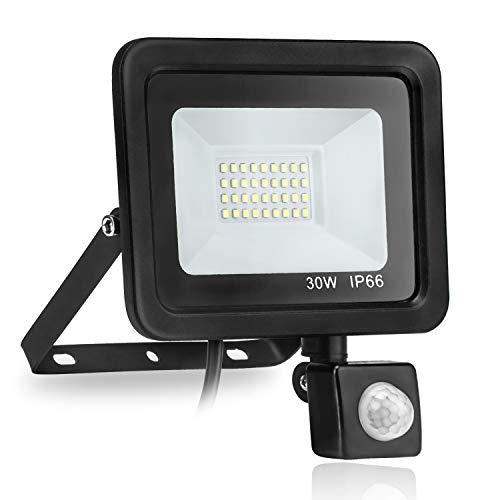 TechKen Lampen für Außen mit Bewegungsmelder, 30W LED Strahler 6000K Wasserdichtes IP65 mit 2400 Lumen 30W Pir Flutlicht Strahler für Garten,Parkplatz,Hof