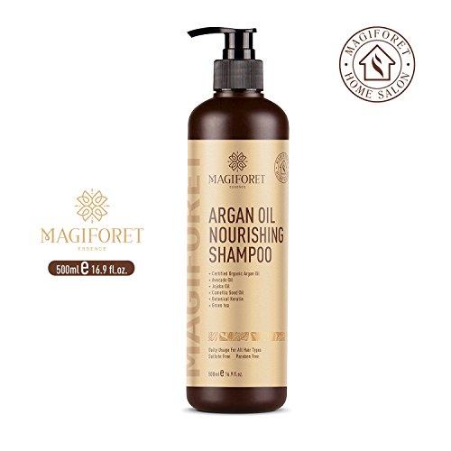 Shampooing bio à l'huile d'argan marocaine - MagiForet Shampooing Hydratant, sans sulfate - doux et lisse, doux sur cheveux bouclés et colorés, pour hommes et femmes, 500 ml