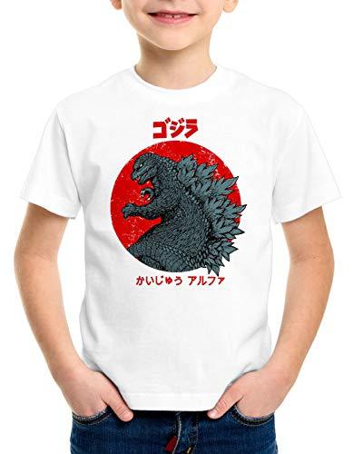style3 Gojira T-Shirt für Kinder Japan Monster Nippon Kanji Tokyo, Farbe:Weiß, Größe:128