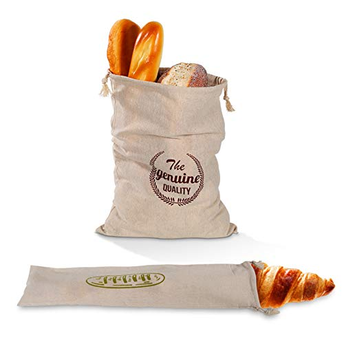 None/Brand Besylo Bolsas de Pan de Lino, 2pcs Bolsa de Pan, Bolsas de Pan de Lino Reutilizable, Ideal para Pan casero para Almacenamiento de Alimentos en el hogar Regalo para panaderos, 2 Estilos