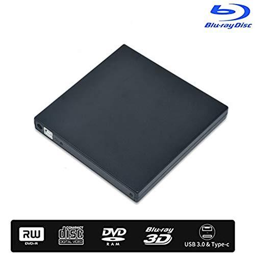 External Bluray DVD Drive, USB 2.0 DVD Burner 3D Slim Optical CD DVD Drive Compatible with Windows XP/7/8/10 MacOS Linux for MacBook Laptop Desktop-Black