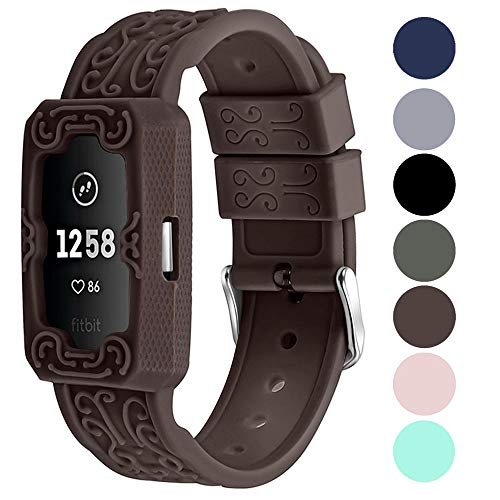 Compatible for Fitbit Charge 2 Bands, Adjustable and Breathable Soft Silicone Replacement Accessory Sport Band for Fitbit Charge 2 HR Women Men Small Large Chocolate Brown