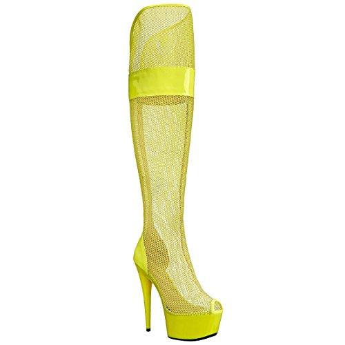 Ellie Shoes Women's 6 inch Peep Toe Thigh High Mesh Boot (Yellow;11)