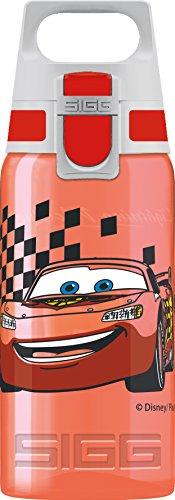 SIGG VIVA ONE Cars Kinder Trinkflasche (0.5 L), schadstofffreie Kinderflasche mit auslaufsicherem Deckel, einhändig bedienbare Wasserflasche für Kinder