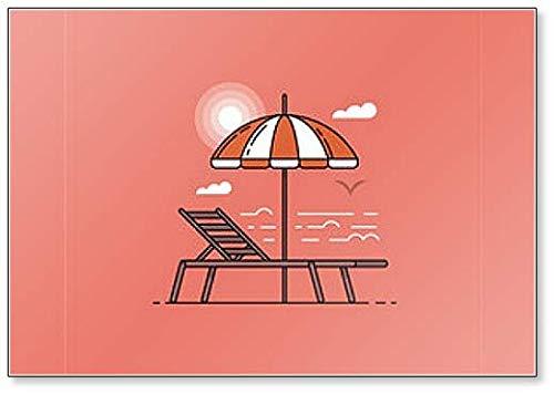 Sunset imán para nevera con sombrilla y silla de playa