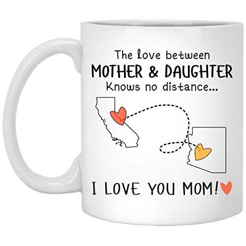 N\A alifornia Arizona El Amor Entre Madre e Hija no Conoce la Distancia - Taza de café/té de cerámica - Blanco