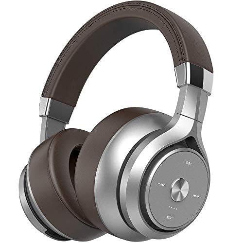 Picun 40 Stunden Bluetooth Kopfhörer Over Ear, Quad Treiber EQ Bass Sound Headset mit Batterieanzeige, 3,5 mm AUX, eingebaut Rauschunterdrückung Mikrofon Kopfhörer kabellos für Homeoffice (Braun)