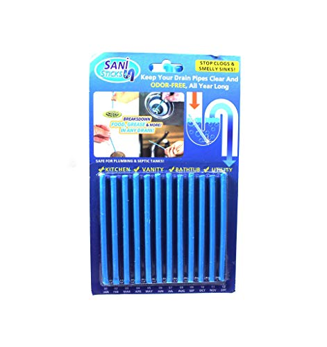 Easy Flow Drain Sticks Pack of 2 Cleaner to Provent Blockage 24 pcs Clogs and Bad Odours Hair Citrus Unblocker for Kitchen Pipes Clear 100% Natural Degradation