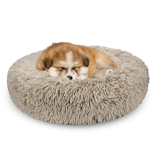 AIPERRO Pet Bed for Small Dogs and Cats Donut Cuddler Fur Round Dog Bed Soft Plush Fluffy Indoor Cat Bed, Anti Slip Bottom, 20/23/30 Inch for Puppy and Kitties (23 inch, Beige Brown)