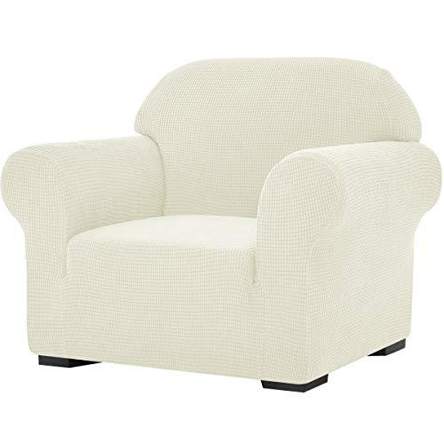 subrtex Stretch-Sofabezug, 1 Stück, für Wohnzimmer, Sessel, weiche Möbel, waschbar, Couch, Schonbezüge für Kinder/Hunde (Stuhl, weiß)