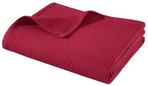 WOHNWOHL Baumwolldecke 150 x 200 cm • Waffelpique leichte Kuscheldecke aus 100% Baumwolle • Luftige Sofa-Decke vielseitig einsetzbar • Pflegeleichte Wohndecke • Farbe: Rot