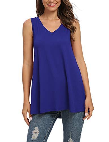 AUSELILY Damen Sommer lässig ärmellose T-Shirt mit V-Ausschnitt Tunika Bluse Tanktops.(Königsblau,44)