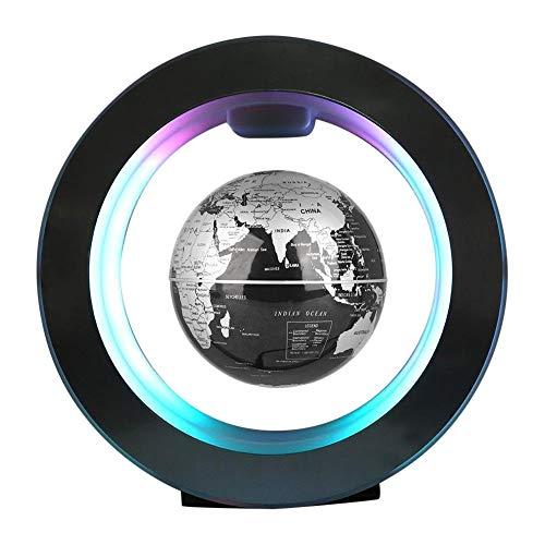 Forma C de Globo Flotante de levitación magnética rotación del mapa del mundo con luces LED Tierra Globo Para Decoración de Escritorio Regalo de Cumpleaños de Navidad (Negro)
