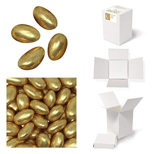 Bulk Gourmet Emporium - Goldene gezuckerte Mandeldragees, kunststofffrei, vegetarisch und halalfreundlich, Nuss-Schüttbox, 450 g