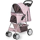 Paws & Pals 4 Wheeler Elite Jogger Pet Stroller Cat/Dog Easy to Walk Folding Travel Carrier, Pink