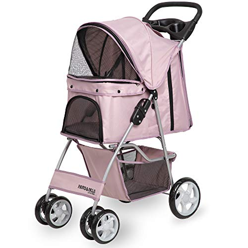 Paws & Pals 4 Wheeler Elite Jogger Pet Stroller Cat/Dog Easy to Walk Folding Travel Carrier, Pink