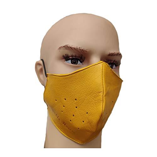 Noble House Atmungsaktive Community Gesichtsmaske aus Leder Mundschutz (Gelb)