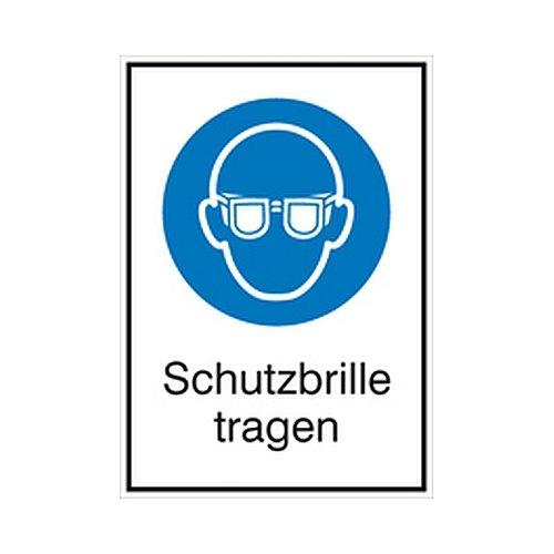 Schild Schutzbrille tragen Kombizeichen/Gebot Größe: 13,1 x 18,5cm Alu