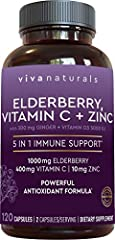 5 POWERHOUSE IMMUNE SUPPORTING INGREDIENTS* – Viva Naturals elderberry capsules for adults combines the strength of not one–but five high-quality, immune-supporting ingredients.* Sambucus elderberry and ginger help provide antioxidant support, zinc o...
