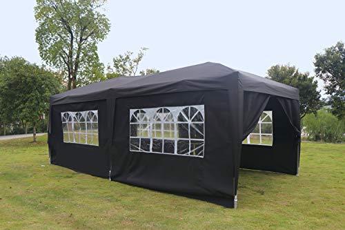 Kronenburg Faltpavillon 100% WASSERDICHT Pavillon mit 6 Seitenteilen, Gartenzelt, 3x6 m - mit UV Schutz 50+, Schwarz