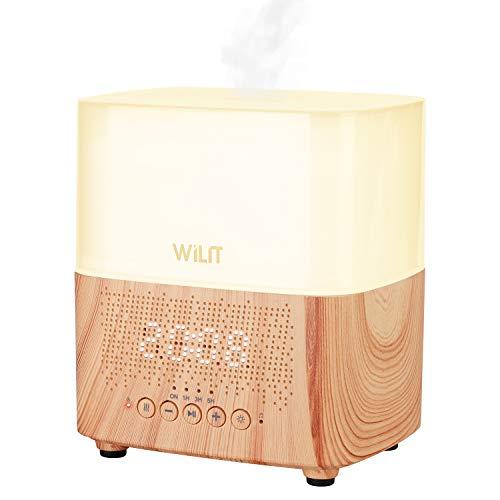 WILIT Aroma Diffuser Mini Schlafzimmer Ultraschall Luftbefeuchter mit Wecker, Bluetooth-Lautsprecher und Farbleuchte Nachtlampe, Duftlampe Elektrisch mit Abschaltung und Nachtlichtfunktion, Holzoptik