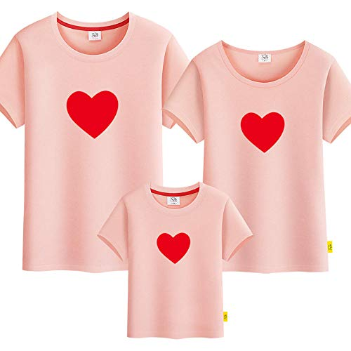 SANDA T-Shirt para Mujer,Padre-niño Verano 2021 Nuevo Padre-niño Camiseta Manga Corta Madre y Madre Madre e Hijo Vestido Amor Familia una Familia Tres-Rosa_Niños 110