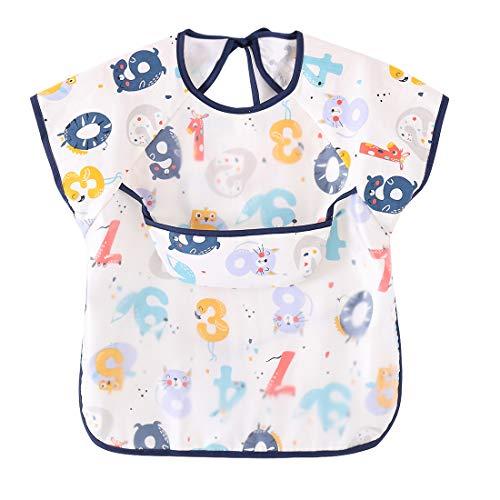 Happy Cherry Lovely Baby Bib in Stile Cartone Animato Bambini Bavaglini a Manica Corta Impermeabile Grembiule Cappotto Blu 2 - Taglia 90