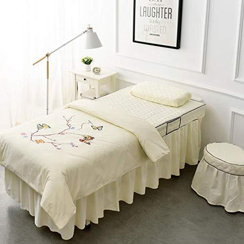 Massage Bettlaken Abdeckung,4-teilig Massage Tisch Blatt Salon Bettlaken Spa mit Loch...