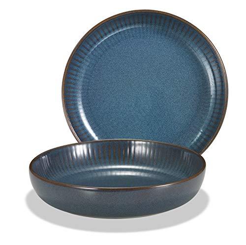 Supremery 2er Set Pastateller aus Keramik, Großer Suppenteller Speiseteller 21cm, tiefer Teller, spülmaschinen-, mikrowellengeeignet, blau Starlit Night
