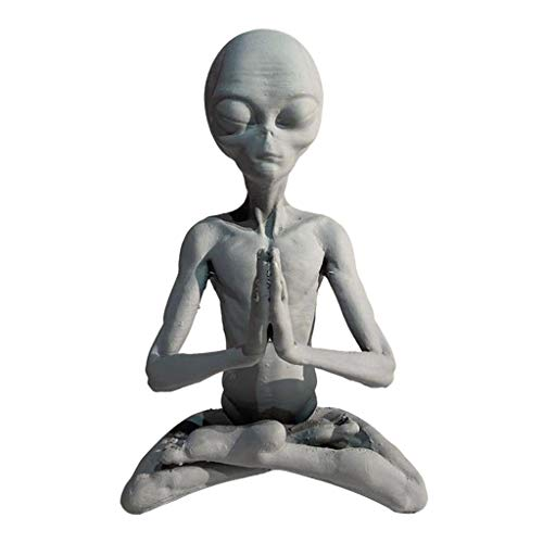 FLAMEER Extraterrestrial UFO Meditating Alien Sculpture Ornament, Mysterious Ornament Crafts Stand, for Home Office Desktop Table Study Store Decoration