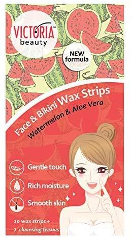 Victoria Beauty - Kaltwachsstreifen für Gesicht und Bikini, Wachsstreifen Haarentfernung, Wax Strips für Frauen mit Wassermelone und Aloe Vera, Wachs Haarentfernung, Enthaarungswachs (1 x 20 Stk.)