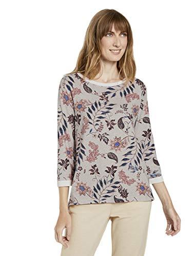 TOM TAILOR Damen Strick & Sweatshirts Sweatshirt mit Blumenmuster White floral Design,S,24313,8448