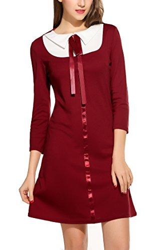Zeagoo Damen 3/4 Ärmel Rundhals 60s Vintage Kleid Rockabilly Festliche Kleider Freizeitkleid Weinrot L