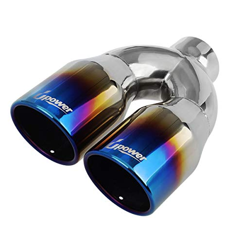 Upower Dual Exhaust Tips Tailpipe 2.5 Inch Inlet 3.5' Outlet 10' Length Stainless Steel Polished Vacuum Plating Blue 1.2mm Thickness Weld On (Single Wall,Rolled Edge)