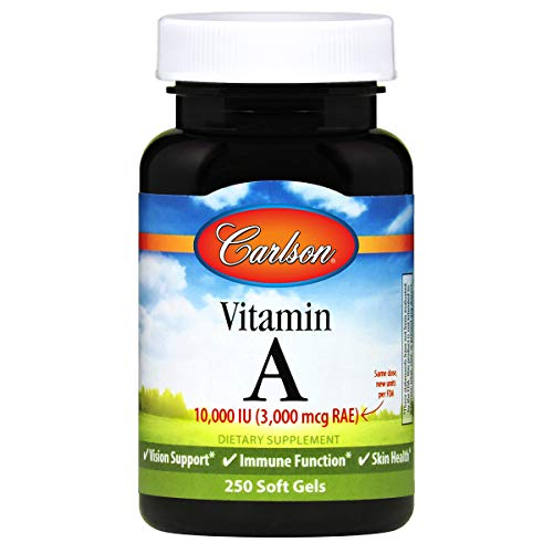 Carlson - Vitamin A, 10000 IU (3000 mcg RAE), Vitamin A Supplements, Immune Support, Vision Health, Antioxidant, 250 Softgels